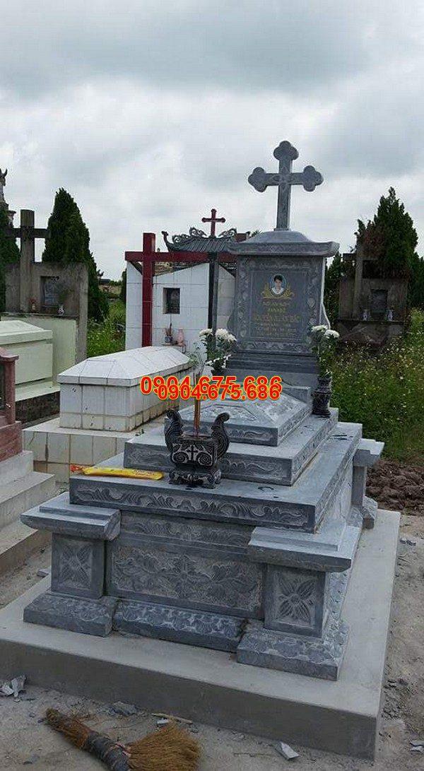 Mộ đá công giáo đẹp hoa văn tinh tế chất lượng cao giá hợp lý