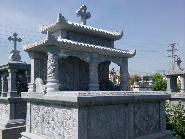 Mộ đá công giáo đẹp chạm khắc tinh xảo chất lượng tốt giá hợp lý