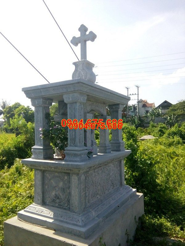 Mộ đá công giáo đẹp hoa văn tinh tế chất lượng cao giá rẻ