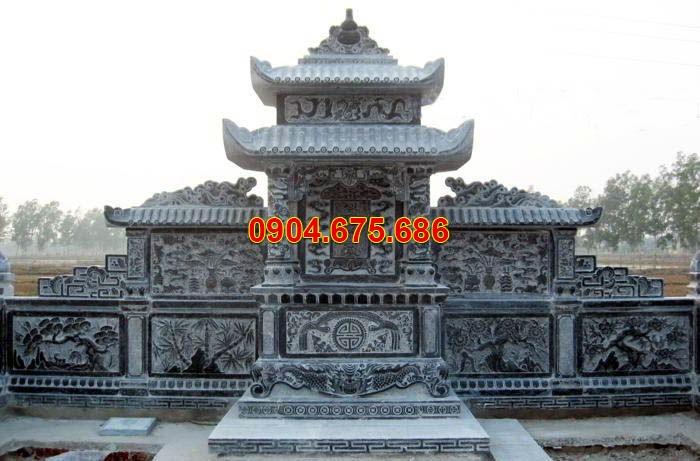 Mẫu lăng thờ Ninh Bình 3 mái đá đen đẹp