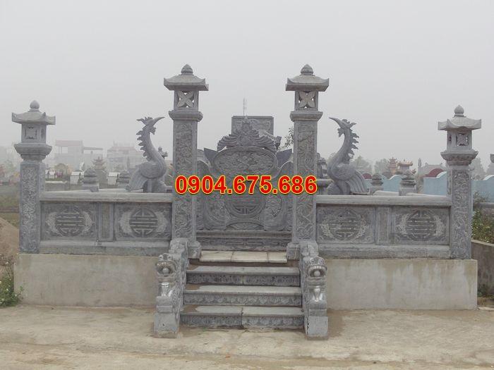 Cổng lăng mộ đá Ninh Bình đẹp với cuốn thư đá, cột đá, hạc đá đẹp