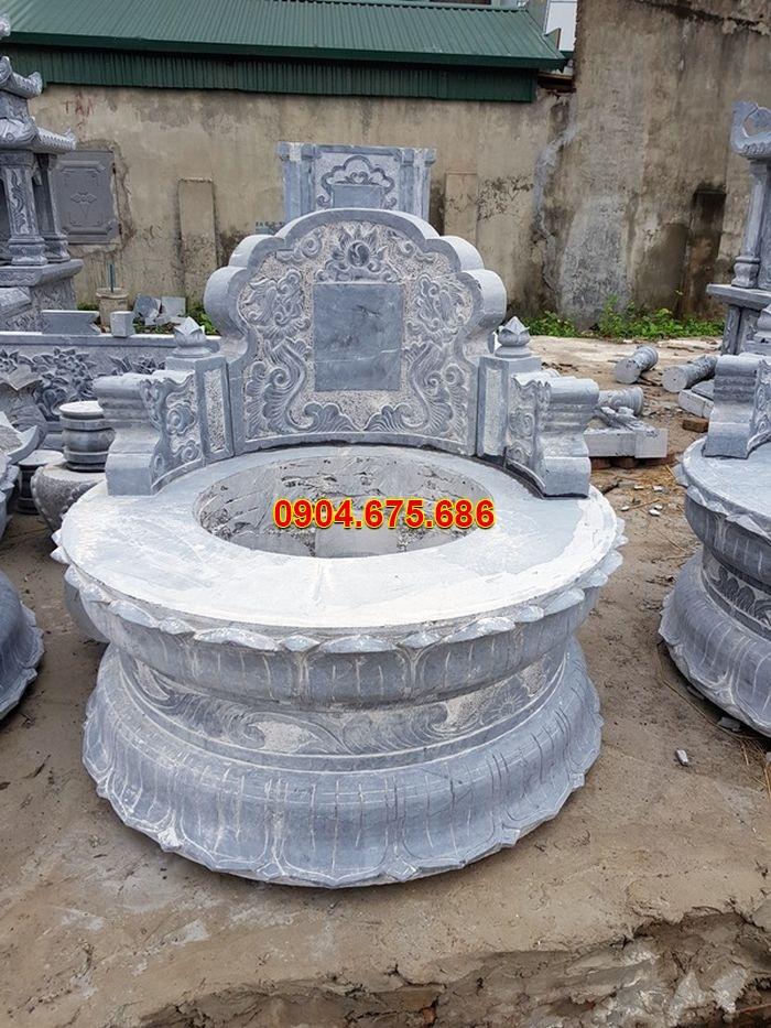 hình ảnh mộ đá tròn hoa văn đài sen
