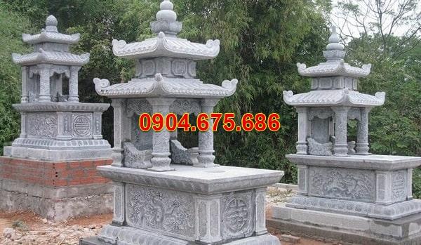 mộ đá xanh rêu 2 mái