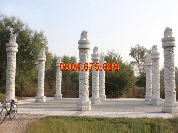 Cột hiên biệt thự nhà riêng bằng đá trắng