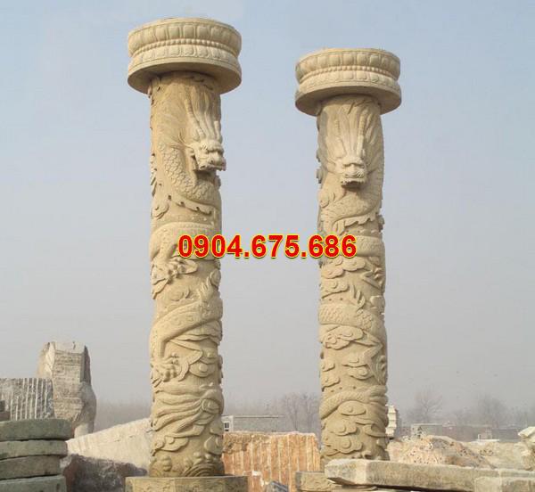 Cột hiên biệt thự nhà riêng bằng đá vàng