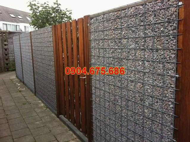 Thiết kế hàng rào bằng đá cuội