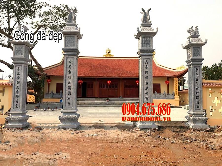 Cổng đá đình chùa đơn giản đẹp