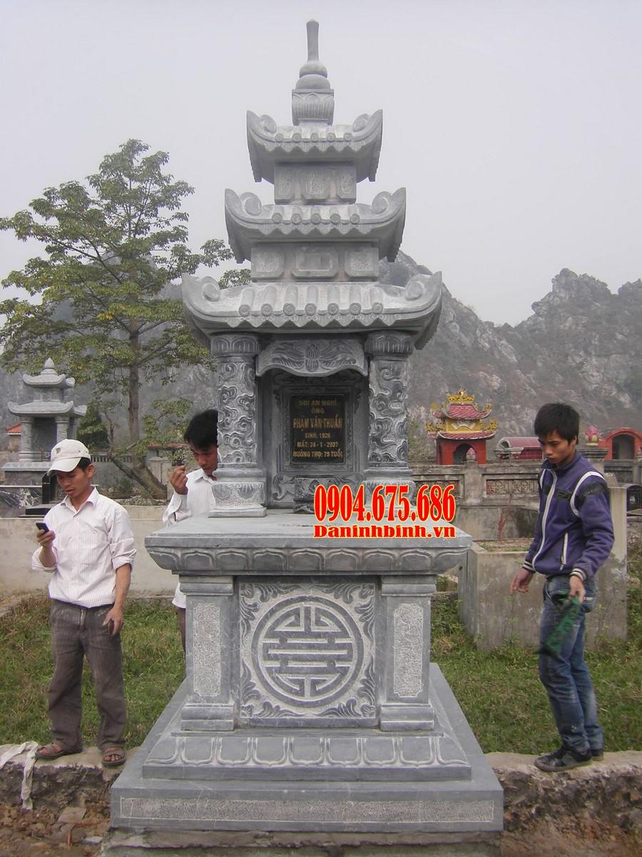 Mẫu mộ ba mái chạm khắc đẹp, kích thước chuẩn phong thuỷ