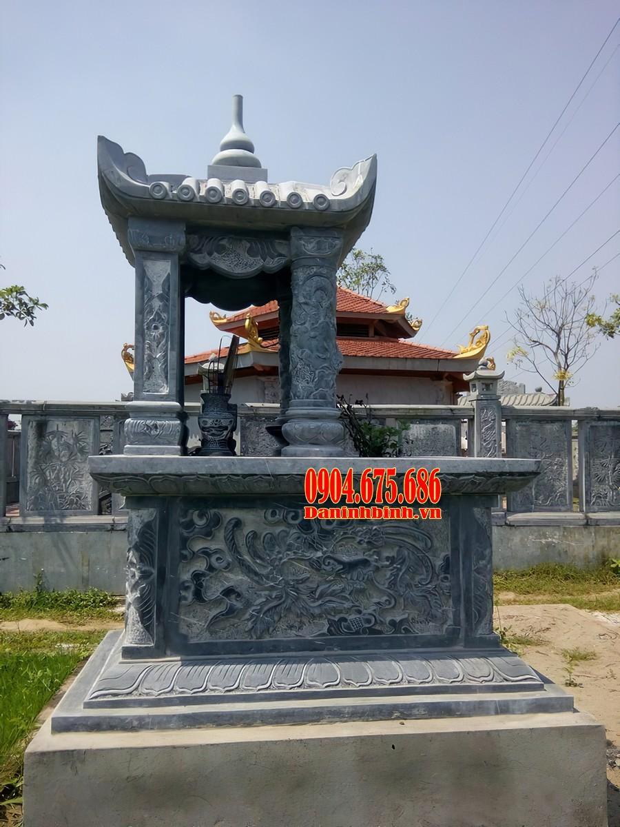 Mẫu mộ 1 mái đá xanh đen Thanh Hoá đẹp