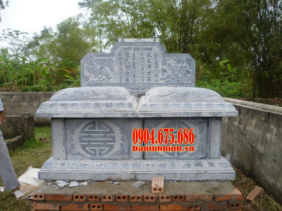 Mẫu mộ đôi đá bành đẹp