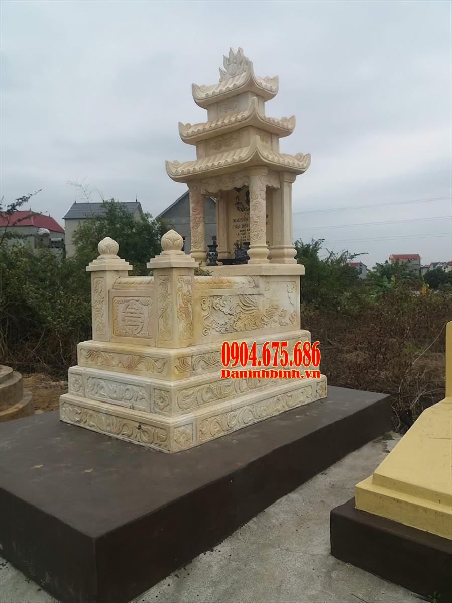 Mẫu mộ 3 mái đá vàng đẹp
