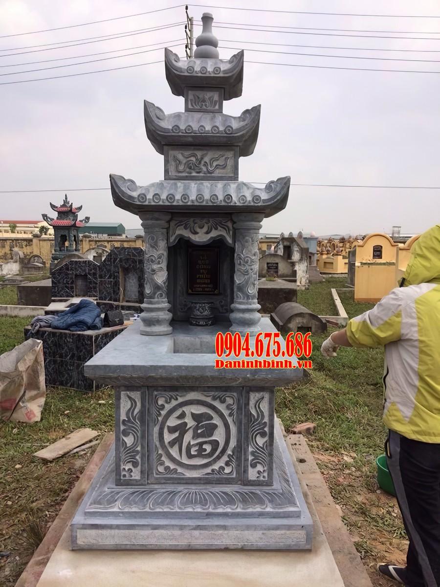Mẫu mộ ba mái đá xanh đen Thanh Hoá đẹp