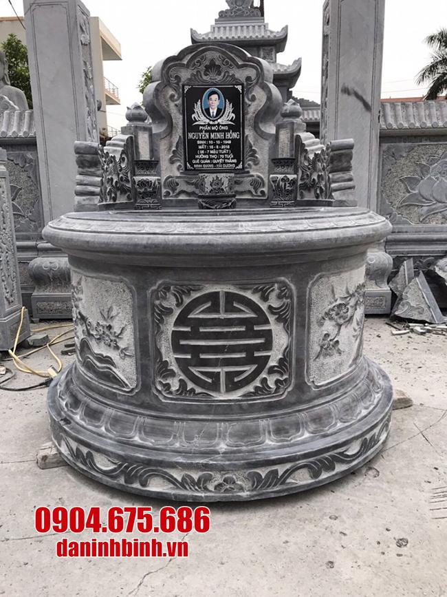 mãu mộ tròn bằng đá xanh đen