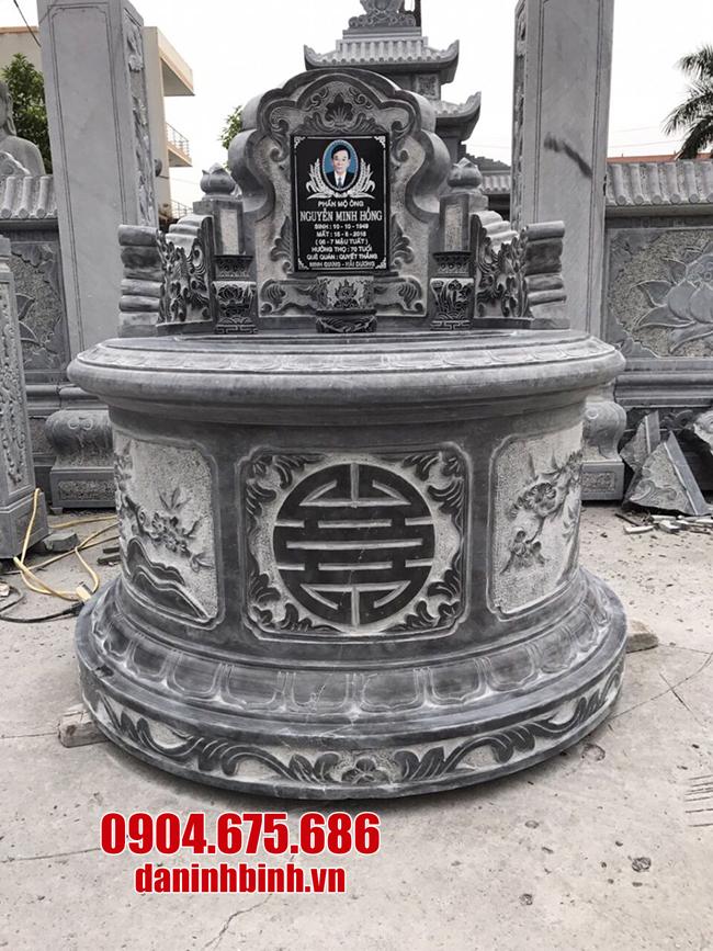 mộ tròn bằng đá xanh đen