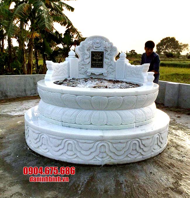 mẫu mộ tròn bằng đá trắng đẹp nhất