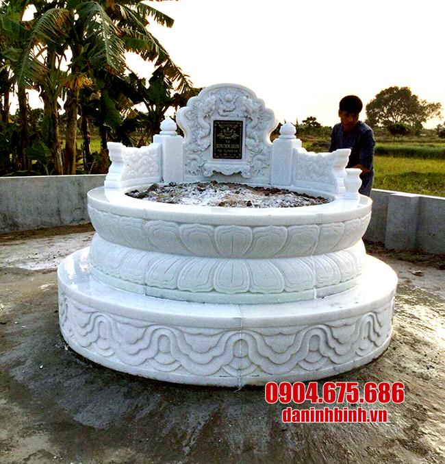 mộ tròn bằng đá trắng đẹp
