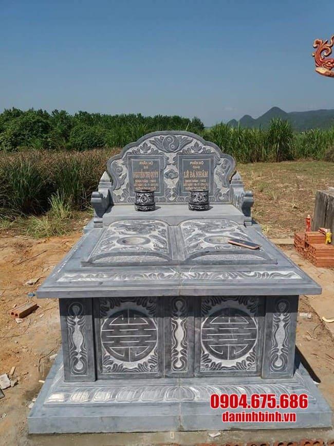 mẫu mộ đá đôi đẹp lắp đặt tại Long An