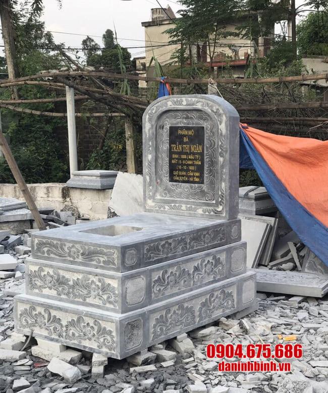 mẫu mộ đá tam cấp lắp đặt tại Long An