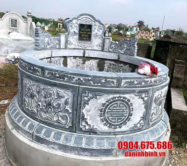 mẫu mộ đá tròn lắp đặt tại Long An