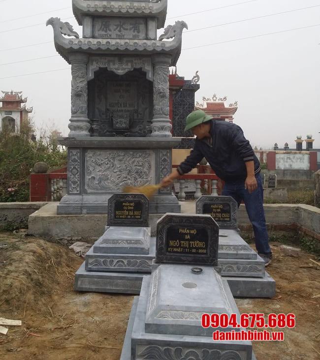 mộ đá tam cấp lắp đặt tại Long An
