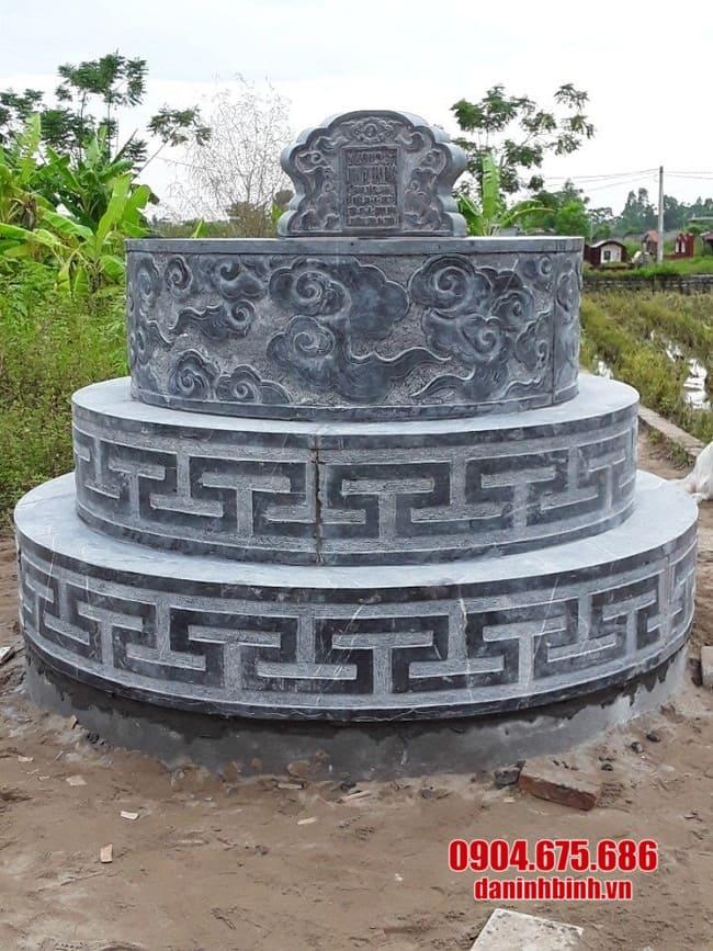 mộ đá tròn lắp đặt tại Long An