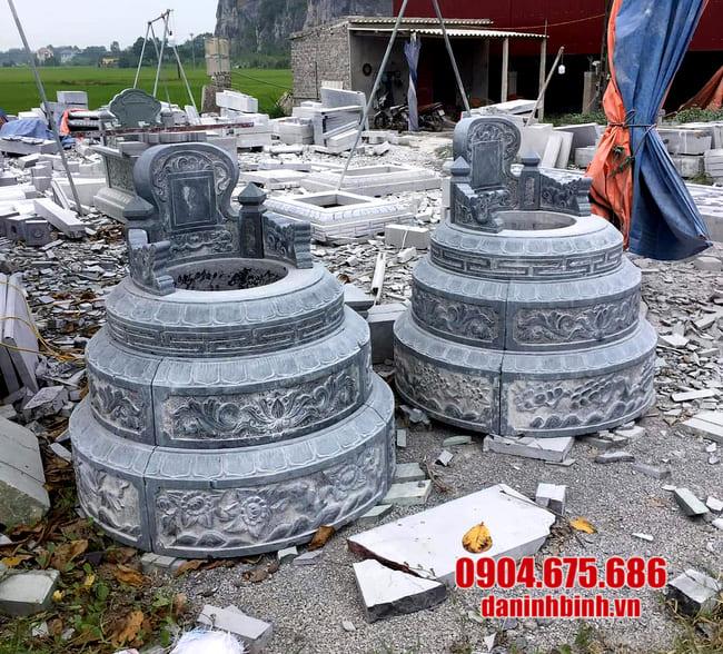 mộ tròn bằng đá lắp đặt tại Long An