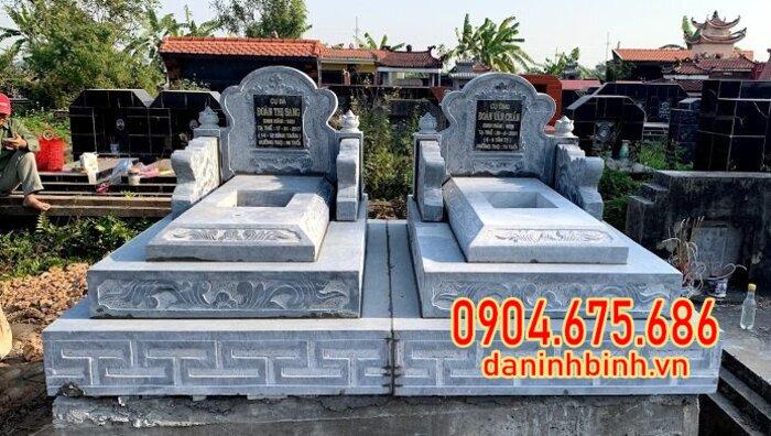 Lắp đặt mộ đôi đá xanh tại Bến Tre