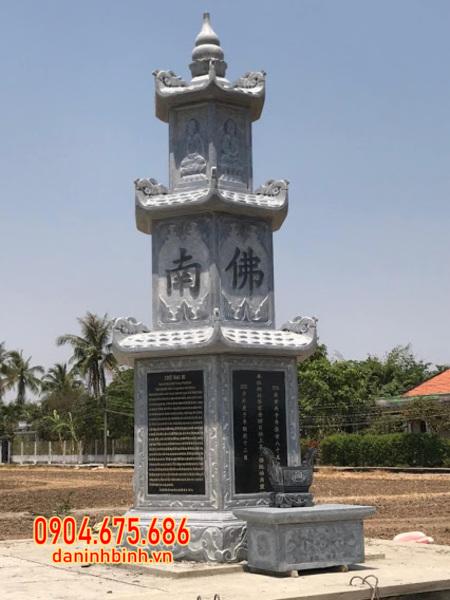 mộ tháp bằng đá đẹp lắp tại Hậu Giang