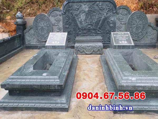 Mẫu mộ đôi xây đẹp đơn giản bằng đá khối